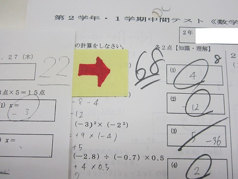 公立中学2年生 中間テスト数学46点UPおめでとう!!画像