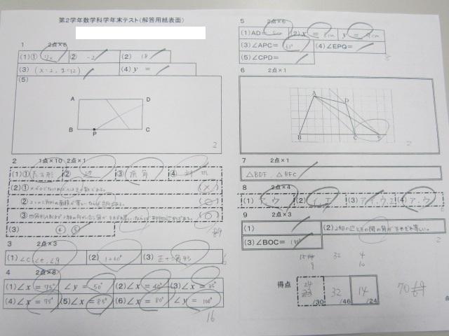 第二東中2年生 定期テスト数学18点UPおめでとう!!画像